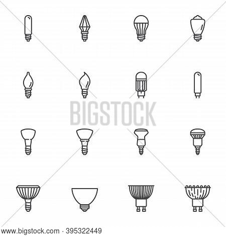 Shapes Of Light Bulbs Line Icons Set, Electric Lighting Types Outline Vector Symbol Collection, Line