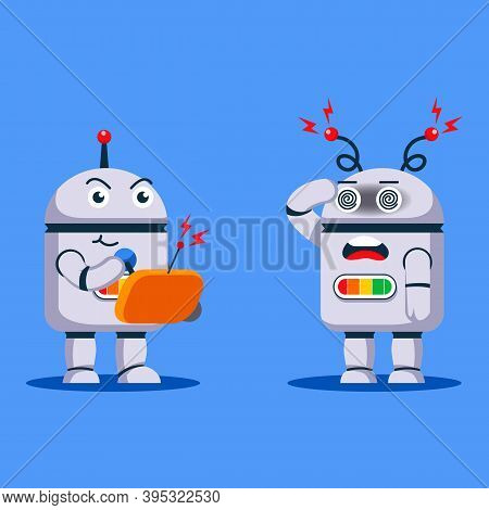 Robot Conquering And Commanding Other Robot Using Remote Control.