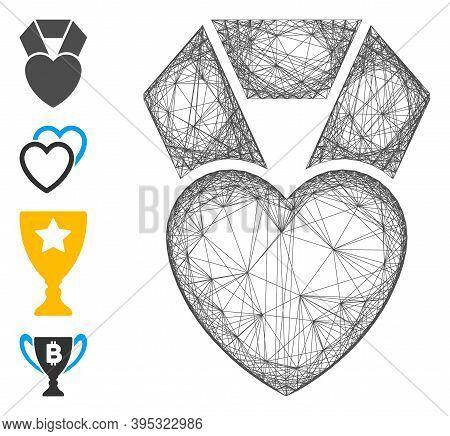 Vector Wire Frame Favorite Heart Award. Geometric Wire Carcass Flat Net Made From Favorite Heart Awa