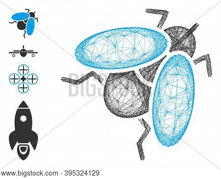 Vector Net Fly Insect. Geometric Linear Frame 2d Net Based On Fly Insect Icon, Designed With Interse