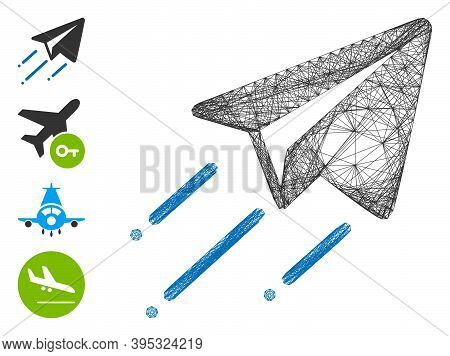 Vector Net Freelance Flight. Geometric Hatched Frame 2d Net Generated With Freelance Flight Icon, De