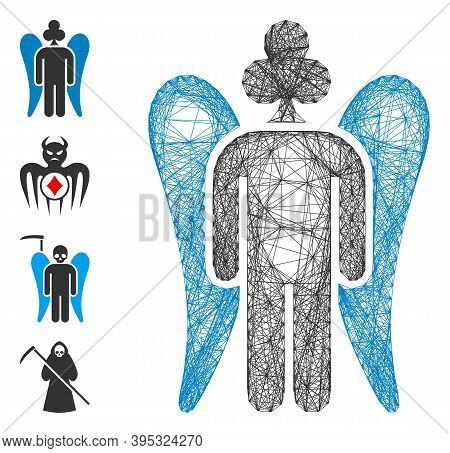 Vector Wire Frame Gambling Angel. Geometric Wire Carcass Flat Net Made From Gambling Angel Icon, Des
