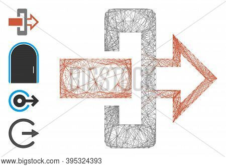 Vector Net Gateway. Geometric Wire Frame Flat Net Generated With Gateway Icon, Designed With Crossin