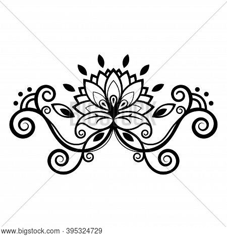 Abstract Floral Ornament, Ethnic Pattern, Black And White Drawing With Curls, Spirals, Flower, Decor