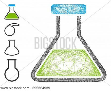 Vector Wire Frame Green Wide Flask. Geometric Linear Frame Flat Net Generated With Green Wide Flask