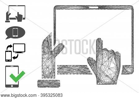 Vector Net Hand Points Pda. Geometric Wire Carcass 2d Net Generated With Hand Points Pda Icon, Desig