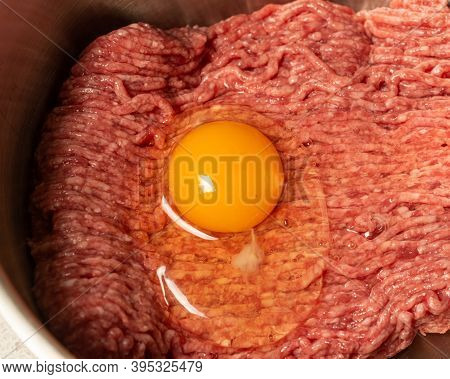 Minced Meat With Egg Prepared For Cooking