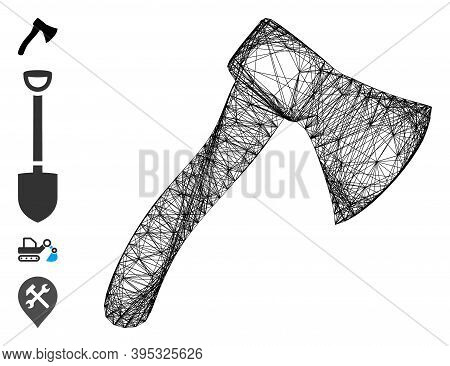 Vector Wire Frame Hatchet. Geometric Wire Carcass 2d Network Made From Hatchet Icon, Designed With C