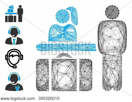 Vector Wire Frame Hotel Reception. Geometric Wire Carcass Flat Network Generated With Hotel Receptio