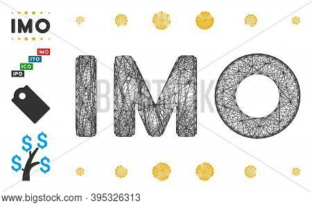 Vector Wire Frame Imo Caption. Geometric Wire Frame 2d Net Based On Imo Caption Icon, Designed From