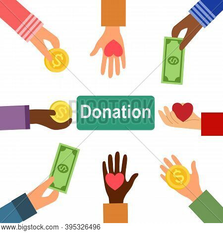 Hand Giving Coins, Banknotes And Heart In Flat Design. Money Donation Concept Vector Illustration On