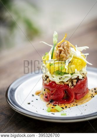 Roasted Red Bell Pepper With Orange Quinoa And Walnut Healthy Vegan Tapas Appetizer Snack