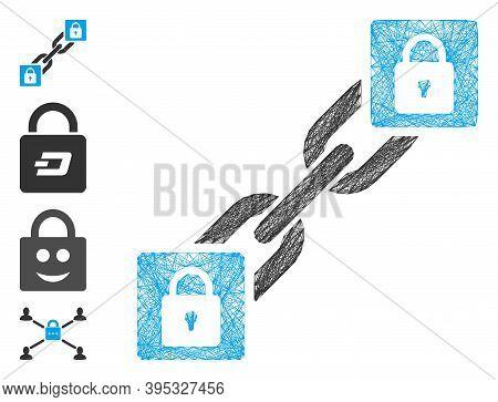 Vector Network Lock Blockchain. Geometric Hatched Frame Flat Network Based On Lock Blockchain Icon,