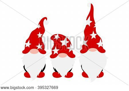 Christmas Gnomes In Holiday Hats, Scandinavian Gnome With Decoration In Hands, Male Nordic Gnomes, V
