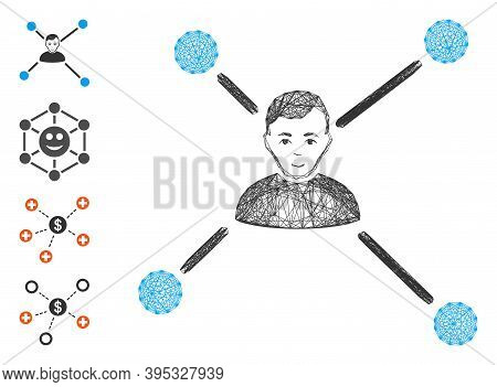 Vector Wire Frame Man Links. Geometric Wire Frame 2d Network Based On Man Links Icon, Designed From