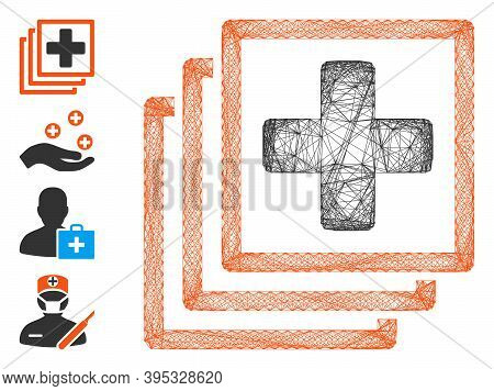 Vector Wire Frame Medical Docs. Geometric Hatched Frame 2d Network Generated With Medical Docs Icon,