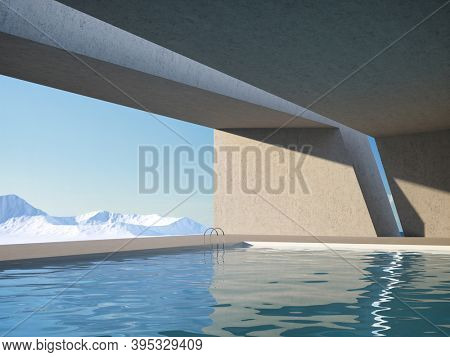 Architectural design of modern concrete interior with panoramic window and swimming pool, 3D illustration, rendering.