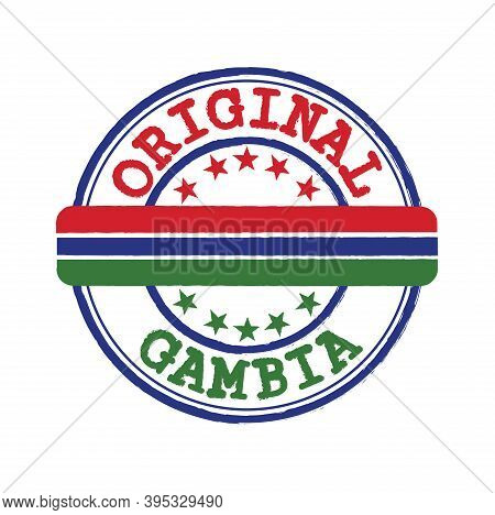 Vector Stamp Of Original Logo With Text Gambia And Tying In The Middle With Nation Flag. Grunge Rubb