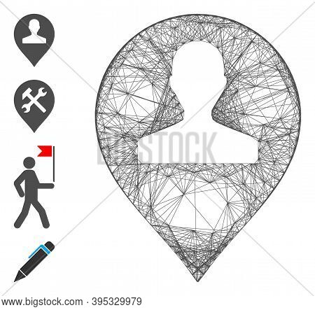 Vector Net Monument Marker. Geometric Linear Frame Flat Net Generated With Monument Marker Icon, Des
