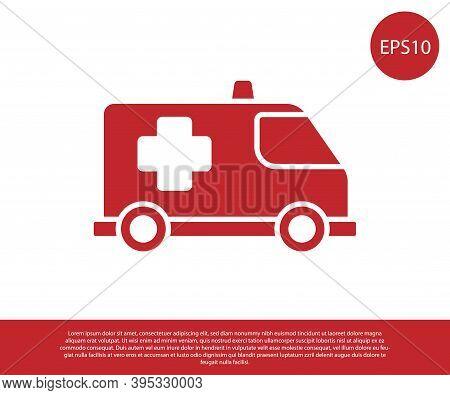 Red Ambulance And Emergency Car Icon Isolated On White Background. Ambulance Vehicle Medical Evacuat
