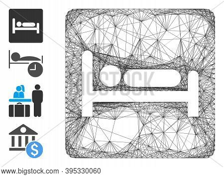 Vector Wire Frame Motel Bed. Geometric Wire Frame 2d Net Generated With Motel Bed Icon, Designed Wit