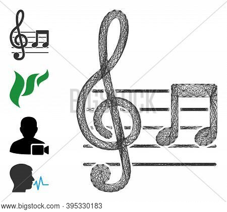 Vector Wire Frame Musical Notation. Geometric Wire Frame 2d Net Made From Musical Notation Icon, Des