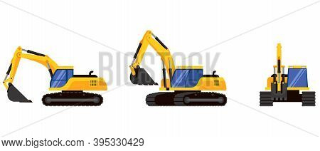 Excavator In Different Angles. Special Machinery In Cartoon Style.