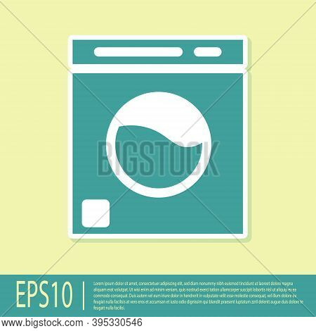 Green Washer Icon Isolated On Yellow Background. Washing Machine Icon. Clothes Washer - Laundry Mach