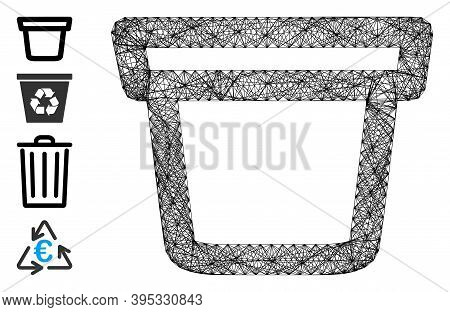 Vector Net Pail. Geometric Wire Frame 2d Net Made From Pail Icon, Designed From Crossing Lines. Some
