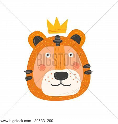 Muzzle Of Cheerful Tiger With Crown. Funny Cartoon Wild Beast On Isolated Background. Fabulous Preda