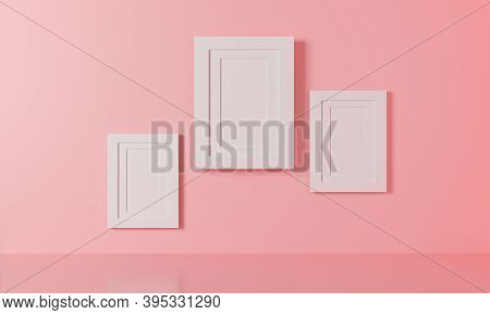 White Frame 3d Rendering. Illustration Modern Picture Frame Concept, Empty White Border Image Frame