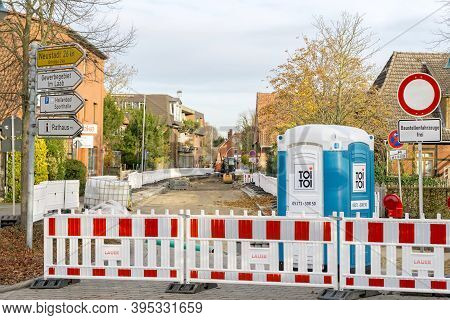 Niedersachsen, Germany November 15, 2020: A Closed Street Due To Roadworks Building Site Renewing Th