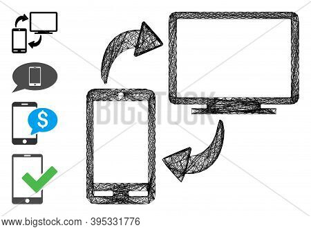 Vector Wire Frame Phone-desktop Sync. Geometric Hatched Frame 2d Net Generated With Phone-desktop Sy