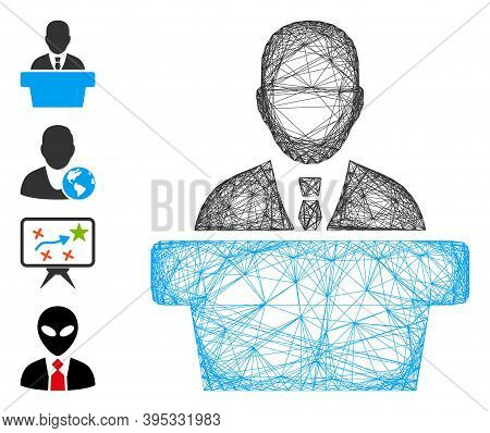 Vector Net Politician. Geometric Wire Frame Flat Net Made From Politician Icon, Designed From Crosse