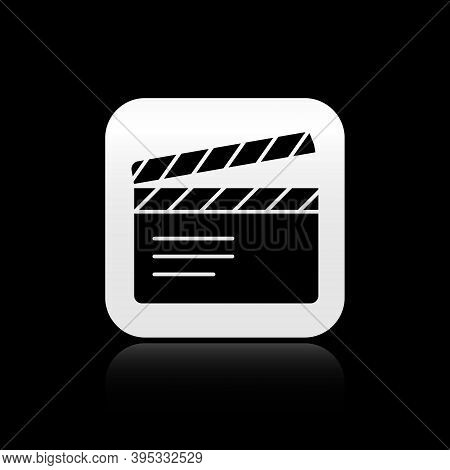 Black Movie Clapper Icon Isolated On Black Background. Film Clapper Board. Clapperboard Sign. Cinema
