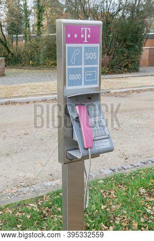 Niedersachsen, Germany November 15, 2020: A Deutsche Telekom Public Telephone In The Street