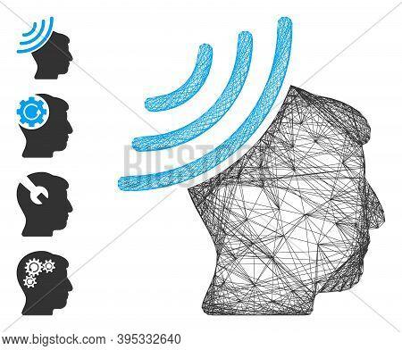 Vector Net Radio Reception Mind. Geometric Linear Frame Flat Net Made From Radio Reception Mind Icon