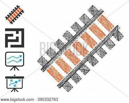 Vector Network Railroad Segment. Geometric Hatched Frame Flat Network Made From Railroad Segment Ico