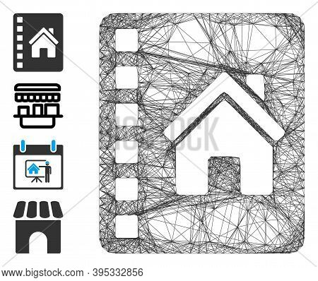 Vector Wire Frame Realty Catalog. Geometric Wire Frame Flat Network Generated With Realty Catalog Ic