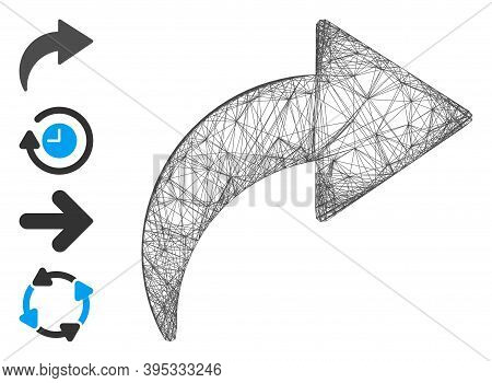 Vector Wire Frame Redo. Geometric Linear Frame Flat Network Based On Redo Icon, Designed With Crossi