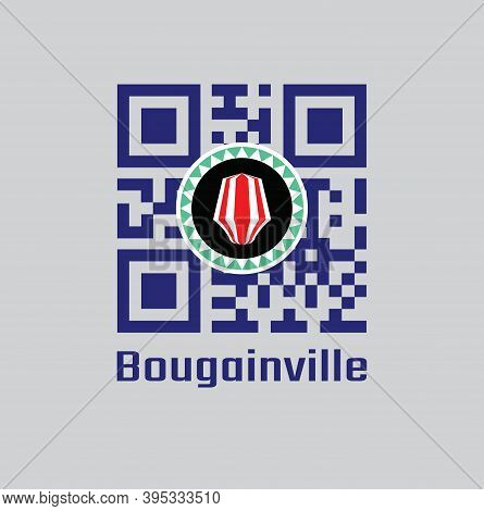 Qr Code Set The Color Of Bougainville Flag. Red And White Upe Headdress Superimposed On A Green And