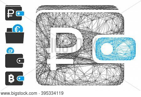 Vector Network Rouble Purse. Geometric Linear Carcass 2d Network Generated With Rouble Purse Icon, D