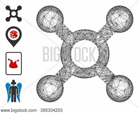 Vector Wire Frame Roulette. Geometric Wire Frame Flat Net Generated With Roulette Icon, Designed Wit