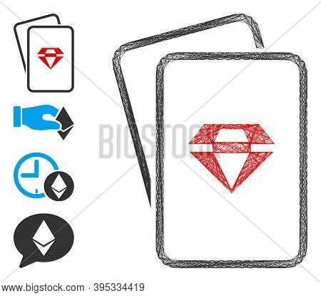 Vector Net Ruby Gambling Cards. Geometric Hatched Carcass Flat Net Made From Ruby Gambling Cards Ico