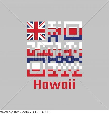 Qr Code Set The Color Of Hawaii Flag, Eight Alternating Horizontal Stripes Of White, Red, And Blue,