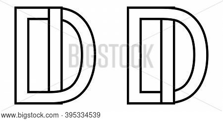 Logo Id Di Icon Sign Two Interlaced Letters I D, Vector Logo Id Di First Capital Letters Pattern Alp