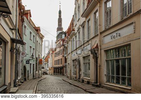 Tallinn, Estonia-august 21, 2019.view Of Old Town In Tallinn With Cobblestone Empty Street.medieval