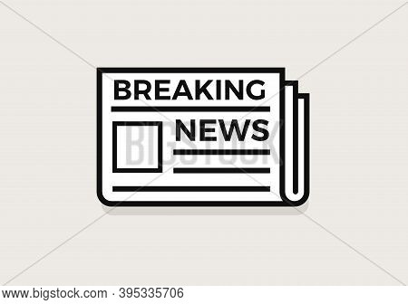 Newspaper Line Icon, Folded Document Logo, Breaking News App, Simple Logo. Press Pages Flat Minimal