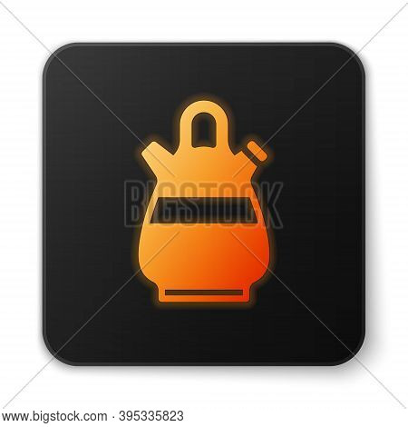 Orange Glowing Neon Sangria Pitcher Icon Isolated On White Background. Traditional Spanish Drink. Bl