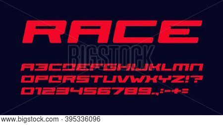 Bold Geometric Style Alphabet For Auto Race Modern Logo, Banner And Poster. Red Font, Heavy Italic L